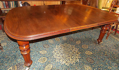 Antique Victorian Wind out table +extra leaf extending Mahogany 6 x 4ft Seats 6+