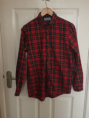 Boys NEXT Red Check Shirt with tie Age 14 Years