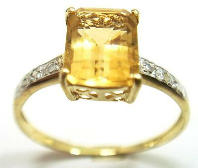 Bague OR JAUNE MASSIF 375/000  9k Citrine Véritable et Diamants T:56  1,24g