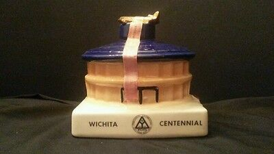 Vintage Erza Brooks Decanter Witchita Centennial July 1870 1970 Airport Building