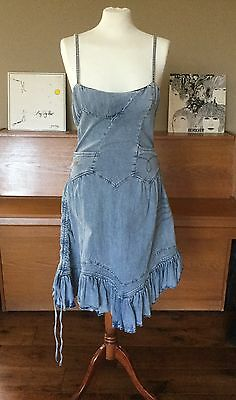 Vintage Christian Lacroix Jeans Dress Pale Blue Denim 10