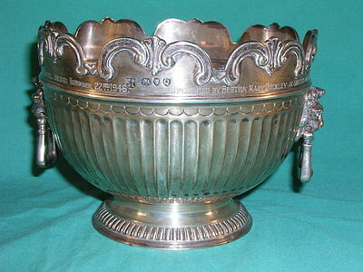 Antique Silver Rose Bowl London 1891 Lions Head Handles Hebron Chapel Marian Cwm