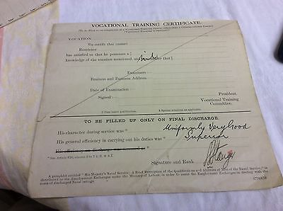 Old Royal Navy Vocational Conduct Training  Certificate Signed By Naval Officer