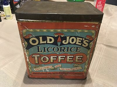 Vintage old joe's licorice toffee collectors Tin collectors  rare old antique