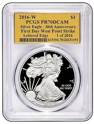 2016-W Silver Eagle PR 70 PCGS First Day Of issue WP Strike 1 of 2016 Gold Foil