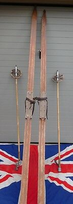 Rare Supersize Clergymans Antique Vintage Wooden Cross Country Skis And Poles