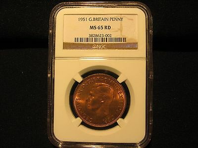 Great  Britain 1 Penny 1951 NGC MS65 RED key date