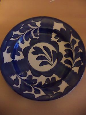 Old Vintage Blue & White China Lead Glaze Plate Norman Franks Art Pottery