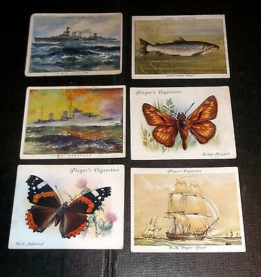 6 Large Players Cigarette Cards Inc British Butterflies & Old Naval Prints