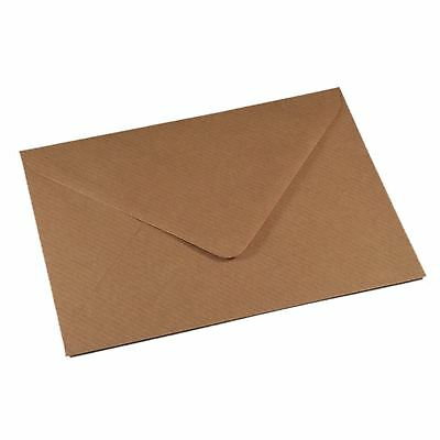 50 C6 BROWN RIBBED KRAFT Envelopes for Cards A6 - Craft Wedding Greeting