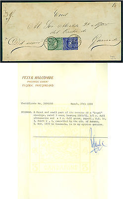 ECUADOR 1870 Coat of Arms ½r blue, 1r green Sc# 2+5 used on large part COVER