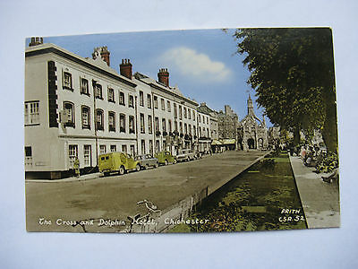 Postcard. The Cross and Dolphin Hotel. Chichester. Sussex  Colour  Unused. e1