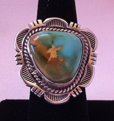 REDUCED FROM $268~ Natural Royston Turquoise Sterling Silver Ring Sz.8.5, Navajo
