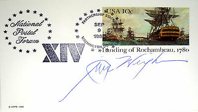 1989 SPEAKER OF HOUSE JIM WRIGHT 1st DAY ISSUE POSTCARD HONORING FRANCE IN 1780
