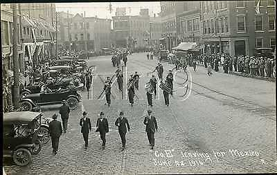 Vermont ~ BELLOWS FALLS ~ Army National Guard Co E Leaving For Mexico RPPC 4613