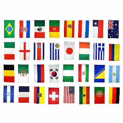 5X(Brazil World Cup Fabric Bunting- All 32 Flags 9 Metres T8