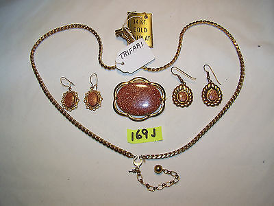 169J, Trifari necklace, gold tone pin, an others