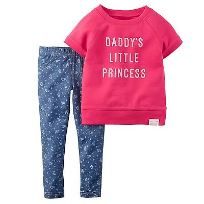 NEW Carter's Baby Girl Pink Outfit Set 18M 18 Months Daddys Little Princess NWT