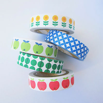 5 pack 10mm washi paper tape -retro scandi apples flowers patterns geometric
