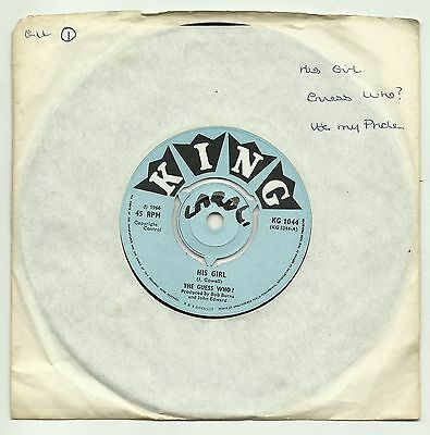 """The Guess Who  His Girl  It's My Pride   Original Uk 7"""" Single  Very Good/better"""
