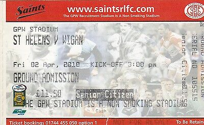 """2010 St.Helens v Wigan Ticket for last """"Derby """" game at Knowsley Road"""