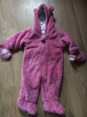 Baby Girls Fleece SnowSuit Next Hooded Pink 6-9 Months