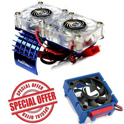 COMBO Traxxas Slash 4x4 3340 Cooling Fan + Motor HeatSink Dual Twin Fan Blue