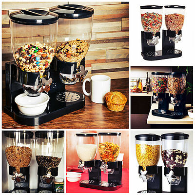 Double Cereal Dispenser Pasta Dry Food Storage Container Canister Kitchen Gadget