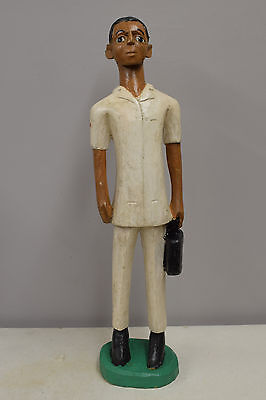 Statue African Colonial Doctor Statue Colonial Figure Carved Wood