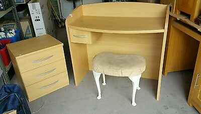 Dressing table, stool and match 3 draw bedside table