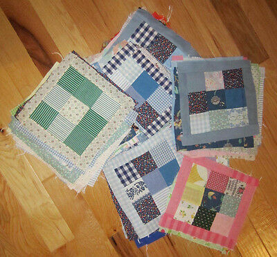 Lot-77 vintage material NINE PATCH Quilt Blocks squares with borders
