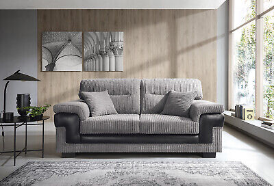 SAMSON 2+3 CORD CHENILLE FABRIC SOFAS, ARMCHAIR in GREY
