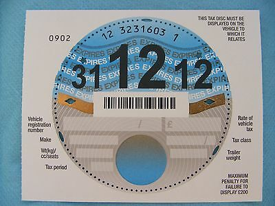 A Brand New Unused UK Tax Disc with selvedge, December 2012. Pristine
