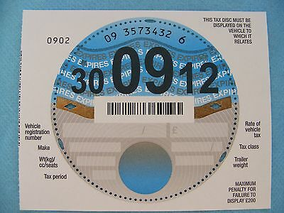 A Brand New Unused UK Tax Disc with selvedge, September 2012. Pristine