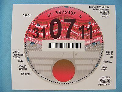 A Brand New Unused UK Tax Disc with selvedge, July 2011. Pristine