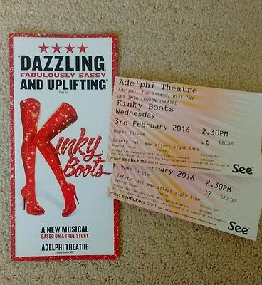 NEW Kinky Boots the Musical Flyer and Used Tickets