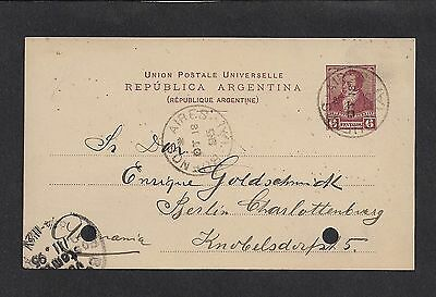 Argentina 1895 Postal Card 6c Buenos Aires to Germany