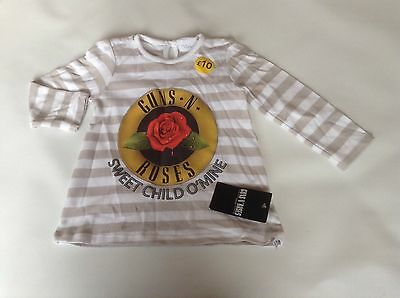 Bnwt Girls Genuine George Guns N Roses L/s T-shirt Top Age 18-24 Months New