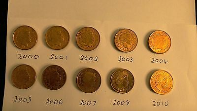 Set of 10 Two Pence Coins from 2000-1-2-3-4-5-6-7-8 & 2010