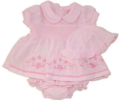 Traditional Smocked Romany Style Summer Dress Hat Nappy Pants by Sweet Elegance