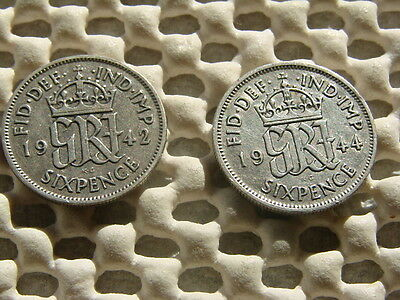 George VI. silver Sixpence  1942 & 1944.