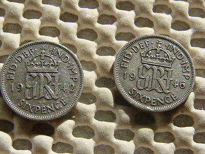 George VI. silver Sixpence  1942 & 1946.