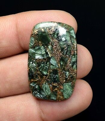 Unusual ! 31.65  Cts. Natural Copper Seraphinite Cab For Sterling Silver Jewelry