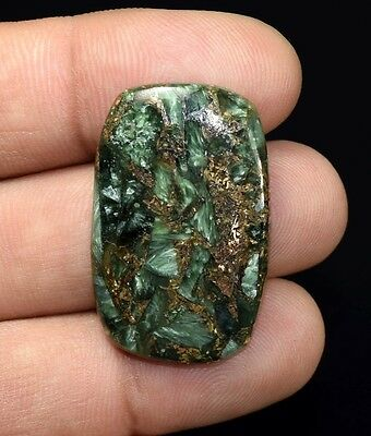 Beautiful  28.40 Cts. Natural Copper Seraphinite Cab For Sterling Silver Jewelry