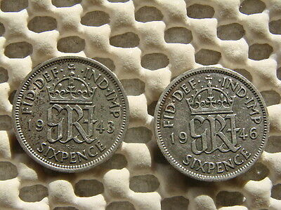 George VI. silver Sixpence  1943 & 1946.