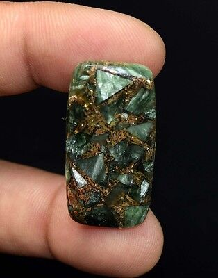 Brilliant  26.25 Cts. Natural Copper Seraphinite Cab For Sterling Silver Jewelry