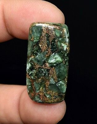 Beautiful  27.55 Cts. Natural Copper Seraphinite Cab For Sterling Silver Jewelry