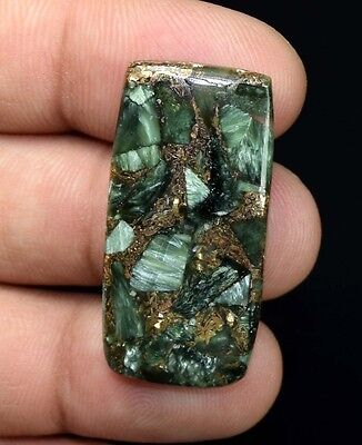 Top Most Demanded  27.30 Cts. Natural Copper Seraphinite Cab For  Silver Jewelry