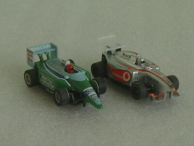 2 Micro Scalextric McLaren Mercedes & Benetton Ford F1 Racing Slot Cars Working