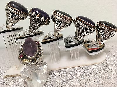 Set Of 6 Unique Engraved Silver Men's & Women Aqeeq Rings Size 9.5/10.5/11/11.25